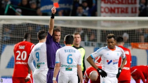 BBC Sport - Joey Barton sorry for Marseille red card against Nancy